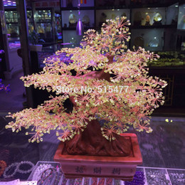 Wholesale Natural peridot crystal lucky tree Rich cash cow crystal tree tree Violet arenaceous town house feng shui furnishing
