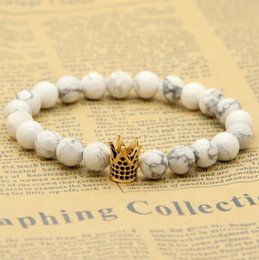 Wholesale White Howlite Marble Stone Beads Micro Inlay Black CZ Beads Crown Mens Bracelets