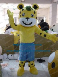 Wholesale Beautiful Yellow Panthera pardus Cougar Leopard Panther Pard Mascot Costume Cartoon Character Mascotte Adult Even Teeth ZZ642 FS