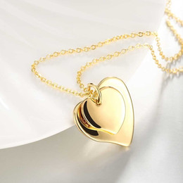 Wholesale Pendant Necklace Jewelry Women Men Double Heart K Gold Plated Fashion Jewelry Engagement party Gift