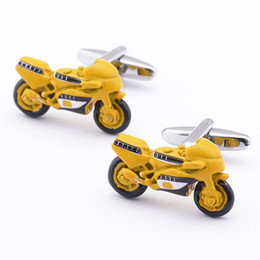 Free shipping Rare Exquisite Style Yellow Paint Motorcycle Cufflinks Men's French Shirt Suit Sleeve Cuff Links 960042