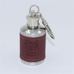 Wholesale 1 OZ Stainless Steel Flask Round Hip Flask PU Packed Wine Alcohol Flask with Key Chain Liquor Flask Wedding Gift