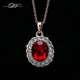 Elegant CZ Dimaond 18K Gold Red Imitation Crystal Necklaces & pendants Fashion Brand Jewelry For Wonem Gifts Crystal Chains Colares DFN308