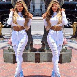 Wholesale High Waist Jeans for Women New Designer Denim Ripped Skinny Black White Elastic Slim Jean Female Femme