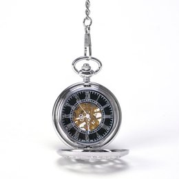 Wholesale Silver Round Chinese Divine Bird Cranes Under The Pine Tree Hand Wind Mechanical Pocket Watch Mixed
