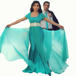 Turquoise Chiffon Arabic Prom Dresses Capped Sleeve Evening Party Dress Sash dubai kaftan Arabian Women Formal Evening Gowns moroccan Caftan