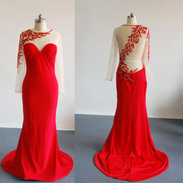 2015 Red Evening Dresses Christmas Mermaid Court Train Sheer Back Beading Long Transparent Sleeve Evening Gowns Dhyz 01
