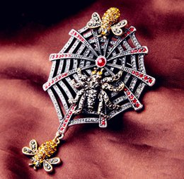 Wholesale 2016 Lovely Fashion New Beautiful Women Lady Spider Web Insect Brooch Pin Crystal Rhinestone Brooches Sweater Accessories Pins Party H6729