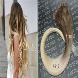 Ombre Tape In Hair Extensions Human 100G Virgin Peruvian Straight Remy Hair 40Piece PU Skin Weft Tape in Human Hair Extensions color #18 613