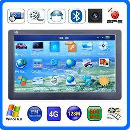 Wholesale New quot Car GPS Navigator Bluetooth AVIN GPS CPU MP4 FM Transmitter HD Touch Screen GB IGO Primo D Maps