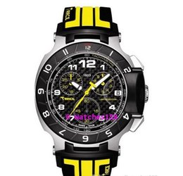 Free Shipping Men's T048 Quartz Watch T048.417.27.202.01 T-Sport T-Race MotoGP Black Dial Yellow CHRONOGRAPH T0484172720201