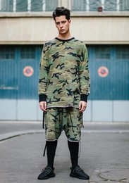 Streetwear Raw Edge Oversize Fitting Camoflage Short Sleeve T-Shirt and Harem drop crotch Shorts Justin bieber camo t shirt Kanye Men Women