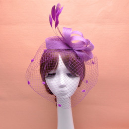 Feather Fascinator Hair Accessories Bridal Birdcage Veil Hat Wedding Hats And Fascinators Cheap Feminino Cabelo 4 Colors