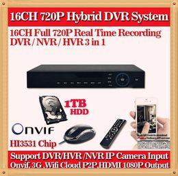 CIA-HD CCTV surveillance 16ch AHD 720P 960H 25fps recording security h.264 DVR HDMI 1080P 16 channel HI 3531 DVR NVR ONVIF Recorder