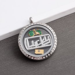 Acheter en ligne Plate-forme de locket de charme flottant mémoire vive-Plaques de fenêtre en alliage Lucky Floating Locket Charms pour mémoire vive Colliers en verre Plaqué Argent Plaqué or