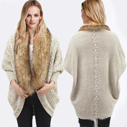 Wholesale New style women sweater fur shawl bat wing fighter sleeve Angle of twist knitting cardigan cream colored loose knitting coat in winter