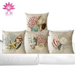 muchun Brand Sea Snail Christmas Linen Pillow Cover Square Halloween Party 45*45cm Home Textiles Decorative Pillow Case