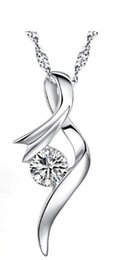 Hot love story 925 sterling silver pendant necklace rhodium plated center large diamond stone
