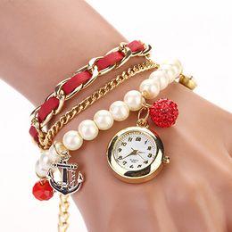 Montres de gros perle en Ligne-Gros-Faux cuir Montre 4D1M 6T2Q AJS3 Pearl Rhinestone Anchor Bracelet Montres analogiques quartz femmes