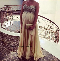 Wholesale New Plus Size Maternity Evening Dress UK Maxi Ladies Chiffon Sweetheart Crystal Prom Evening Gowns For Pregnant Women Empire Party Gowns
