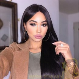 Natural Color human hair wigs Fine French lace 130% medium cap size straight long full lace wigs