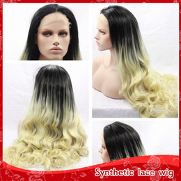 Cheap Ombre Blonde 613# Hair Sexy Body Wavy Long Wigs With Baby Hair Glueless Brazilian Synthetic Lace Wigs for Black Women Heat Resistant