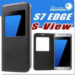 Wholesale Filp Cover Open Window Smart View PU Leather Case Dormancy For Samsung Galaxy S7 S7 edge without retail package