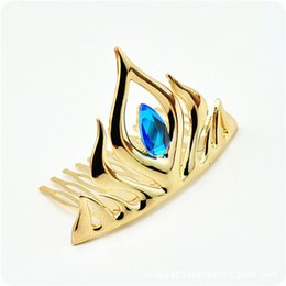 Wholesale CR041 D Animated Movie Elsa Gold Silver Blue Crystal Crown Tiaras Hair Combs Christmas Gifts Top Grade Fashion Hair Jewelry