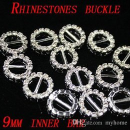 Wholesale Round Rhinestone Crystal Buckles Brooches mm Bar and mm Bar Invitation Ribbon Chair Covers Slider Sashes Bows Buckles Wedding Supplies