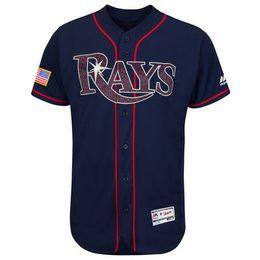 Wholesale Mens Tampa Bay Rays Blank Navy Fashion Stars Stripes Flex Base Jersey Stitched Name