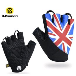 Wholesale MONTON Cycling Gloves Non Slip Bike Gloves Breathable Bicycle Equipment Half Finger France Britain Canada Italy Flag Glove Size S M L XL