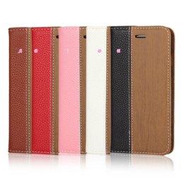 À double bourse de portefeuille à vendre-Bois Bois + Litchi cuir flip Card Cover Purse Cover Hybrid Wallet Porte-cartes de mode Slot PC Double Pouch pour Iphone 6 6S 4.7 / Plus 5.5
