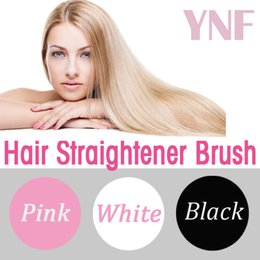 Wholesale Hair Flat Iron Straighteners Anti Frizz Ceramic Tourmaline Professional LCD Auto Temperature Electric Comb Pink White Straightener Brush