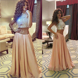 Hot Two Pieces Prom Dresses Jewel Neck Sleeveless Sparkling Sequins On Top Chiffon Skirt Party Evening Celebrity Pageant Dresses
