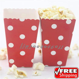 Wholesale 36pcs Red Popcorn Boxes Polka Dot Christmas Wedding Birthday Movie Party Retro Candy Buffet Snack Paper Treat Containers Cups