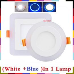 Скидка синяя панель (Холодный белый + синий) Двойные цвета светодиодные встраиваемые панели огни потолочные светильники 6w 9w 16w 24W светодиодные светильники панели переменного тока 110-240В