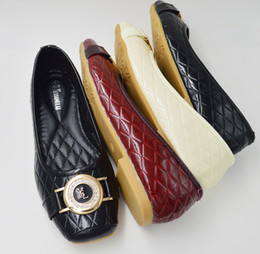 Wholesale Quilted square head shallow mouth tendon flat shoes in Europe and America the new diamond shoes large size eu35
