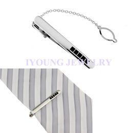 New Classic Black Rhinestone Tie Clips Men Necktie Stickpin Silvery Metal Tie Bars White Steel Plated Tie Pin