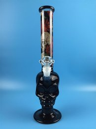 Wholesale Classics Skull Bong glass water pipe with mm skull bowl ice catches and downstem