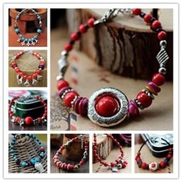 Wholesale Beautiful Red Coral Blue Turquoise Beads Candy Colored Seashells the God s Eye Fortune bringing Amulets Bracelet Ethnic Jewelry