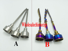 Wholesale Rainbow Domeless Titanium nail titaniumTi Nail mm mm Male Female Carb Cap Dabber Grade VS Ceramic Nails Quartz Glass water pipe Pong