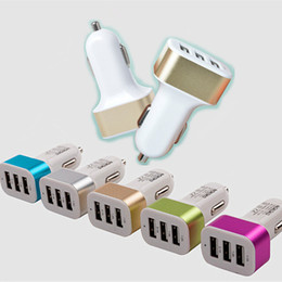 Wholesale Car Charger Auto Electronics Aluminum side USB phone car charger Universal Volt Amp for Apple iPhone Samsung