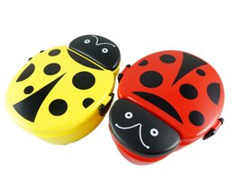 Wholesale Beetle Ladybird Shape Japanese Bento Lunch Box for Kids Food Container Sushi Set Plastic Food Box Lunchbox w Spoon Microwave