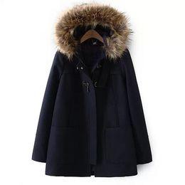 Wholesale Cashmere Wool Winter Jackets Women - 2016 spring Winter women fashion wool cloak coat fur collar cloak woolen outerwear female loose pocket coat Jackets Blends