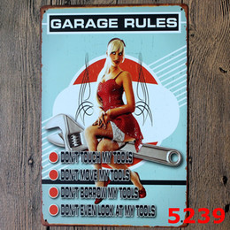Wholesale my garage my rules full service vintage Coffee Shop Bar Restaurant Wall Art decoration Bar Metal Paintings x30cm tin sign