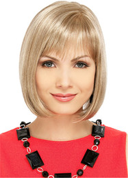 WoodFestival short blonde wig women medium length daily wear straight wigs heat resistant fiber bob hair wigs
