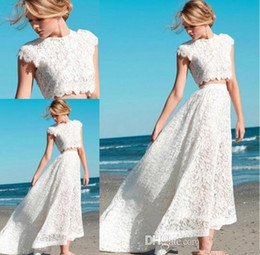 Wholesale Cheap High Top Shorts - CHEAP 2016 Sexy Two Pieces Bohemian Wedding Dresses Lace Crop Top Vintage High Low Boho Beach Bridal Gowns Custom Made
