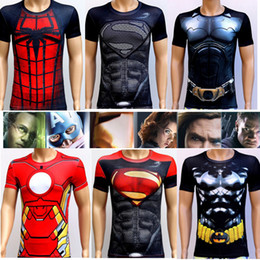 Wholesale Cycling Shirts Men - Hot Sale 2016 New Men Sport Fitness Compression T-Shirt Super Hero Cycling Jersey High Elasticity Quick Dry Tights Short Sleeve
