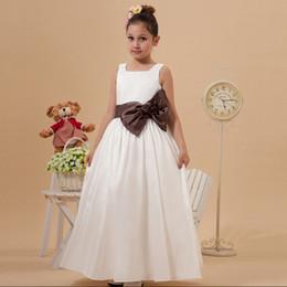 100% High Quality Ankle Length A-line Flower Girl Dresses For Wedding Flower Dress With Bow Zip Back Custom Made European Design