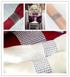 Wholesale Hot Sale Silver quot Rows Sparkly Diamond Rhinestone Mesh Bow Covers Napkin Ring Wedding Chair Sashes Decorative Crafts